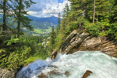 Waterfall above mountain valley, Krimmler Waterfall, Alps, Austria