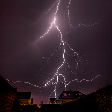 Lightning during a summer thunderstorm, Netherlands
