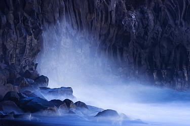 Waves hitting cliffs along coastline, La Palma Island, Spain