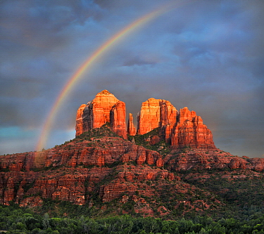 Rainbow over rock formation, Cathedral Rock, Coconino National Forest, Arizona