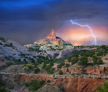 Lightning strikes near rock formation, Church Rock, Red Rock State Park, New Mexico