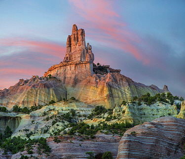 Rock formation at twilight, Church Rock, Red Rock State Park, New Mexico