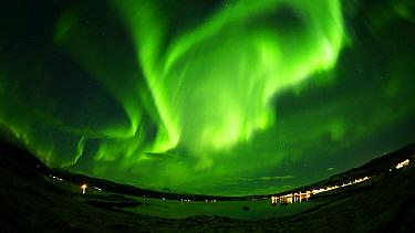 Aurora borealis in night sky over bay, Norway