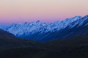 Mountain range at dusk, Sarychat-Ertash Strict Nature Reserve, Tien Shan Mountains, eastern Kyrgyzstan