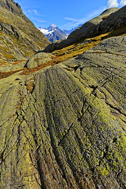 Glacial striations on gneiss, Alps, France