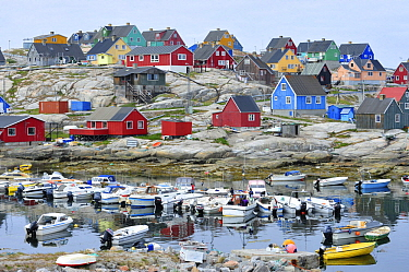 Colorful houses in coastal village, Aasiaat, Greenland