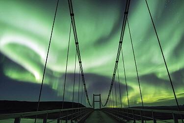 Northern lights and bridge, Jokulsa, Iceland