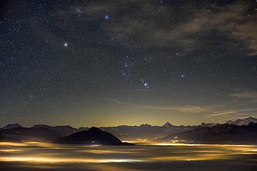 Night sky over mountain valley, Arve Valley, Haute-Savoie, France