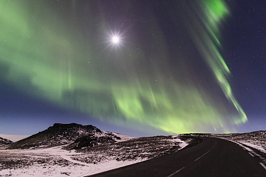 Northern lights and full moon over road, Reykjanes Peninsula, Iceland