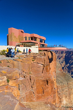 Tourists on walkway extending over edge of canyon, Grand Canyon Skywalk on Hualapai Reservation, Grand Canyon National Park, Arizona