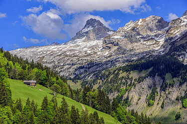 Pointe Percee in the Aravis Range, above the Grand Bournand ski resort, Haute-Savoie, France