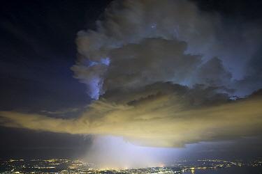 Thunderstorm with a rotating updraft above Geneva, Switzerland