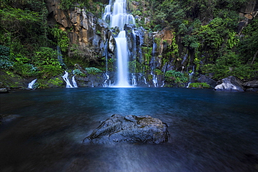 Waterfall in the Bassin des Aigrettes, Ravine Saint-Gilles, Reunion Island, Indian Ocean