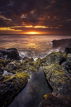 Intertidal zone at sunset, Reunion Island, Indian Ocean