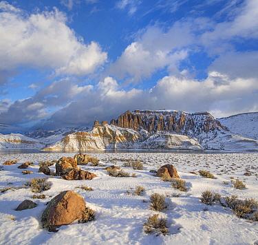 Rock formations in winter, Dillon Pinnacles, Curecanti National Recreation Area, Colorado