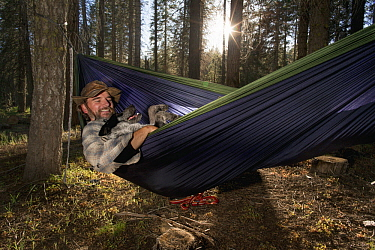 Domestic Dog (Canis familiaris) named Pips, a scent detection dog with Conservation Canines, relaxing with field technician Heath Smith, Sierra Nevada, California