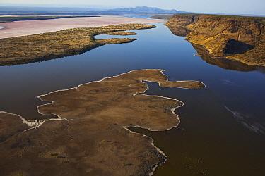 Shoreline and distant mountains, Lake Magadi, Kenya