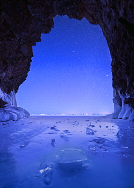Cave at night during polar vortex, Lake Superior, Tettegouche State Park, Minnesota, multiple exposures