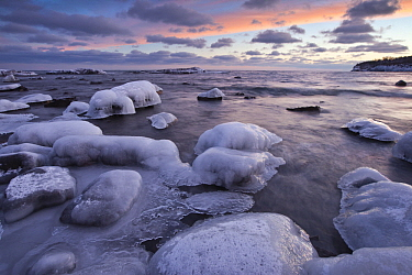 Ice over rocks on shore, Lake Superior, Split Rock Lighthouse State Park, Minnesota