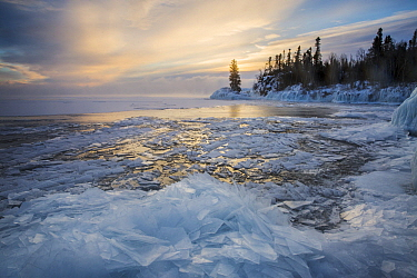 Skim ice in negative thirty degree fahrenheit at sunrise, Lake Superior, Grand Portage National Monument, Minnesota