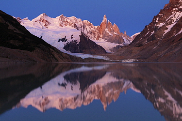 Cerro Torre shortly before sunrise with Laguna Torre and Grande Glacier, Los Glaciares National Park, Andes, Patagonia, Argentina