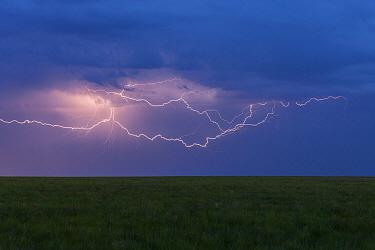 Lightning strikes over steppe, eastern Mongolia