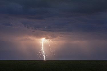 Lightning strike over steppe, eastern Mongolia