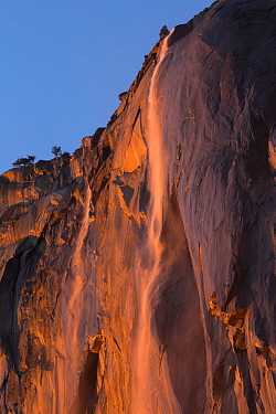Horsetail Fall, low sun angle lights the rock wall during sunset creating a firefall, Yosemite National Park, California