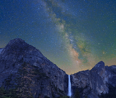 Milky Way over Bridal Veil Falls, Yosemite Valley, Yosemite National Park, California