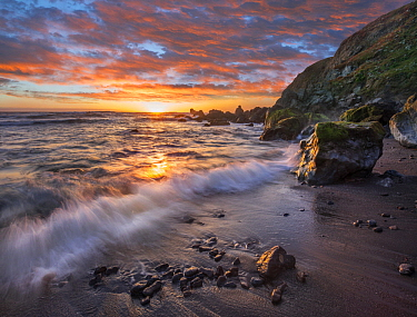 Beach at sunset, Sonoma Coast State Park, Big Sur, California