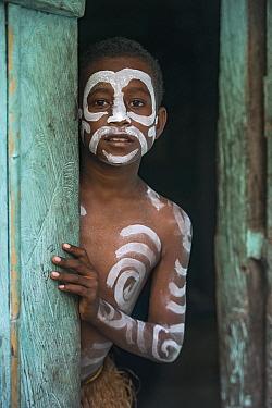 Boy with body paint, Arborek Island, Raja Ampat Islands, Indonesia