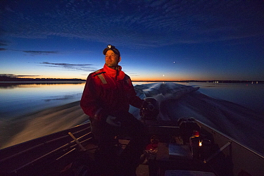 Common Loon (Gavia immer) biologist, Luke Fara, driving boat at night, Crosslake, Minnesota