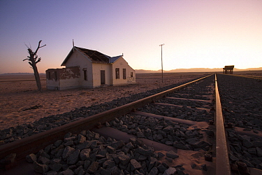 Abandoned train station in desert, Namib-Naukluft National Park, Namibia