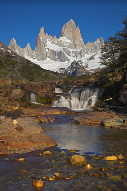 Waterfall and peak, Fitzroy Massif, Los Glaciares National Park, Patagonia, Argentina
