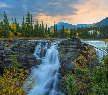 Athabasca Falls and Mount Fryatt, Rocky Mountains, Jasper National Park, Alberta, Canada