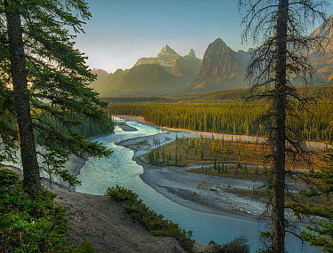 Mount Christie and Brussels Peak from Athabasca River, Jasper National Park, Alberta, Canada