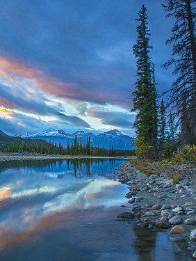 Athabasca River and Colin Range, Rocky Mountains, Jasper National Park, Alberta, Canada