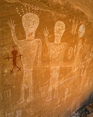 Petroglyphs made by Ancestral Puebloans, Grand Gulch, Cedar Mesa, Bears Ears National Monument, Utah
