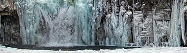 Waterfall in winter, Putoransky State Nature Reserve, Putorana Plateau, Siberia, Russia