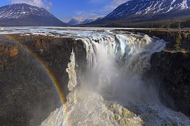 Rainbow over waterfall in plateau, Putoransky State Nature Reserve, Putorana Plateau, Siberia, Russia