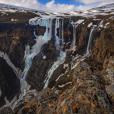 Waterfalls in plateau, Putoransky State Nature Reserve, Putorana Plateau, Siberia, Russia