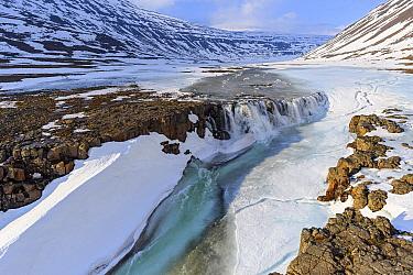 River in valley in winter, Putoransky State Nature Reserve, Putorana Plateau, Siberia, Russia