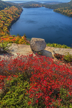 Glacial granite rock above deciduous forest and pond in autumn, Jordan Pond, Bubble Rock, Mount Desert Island, Acadia National Park, Maine