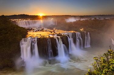 Waterfalls at sunset, Iguacu Falls, Brazil