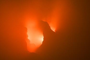 Smoke inside active volcanic crater, Erta Ale, Danakil Depression, Ethiopia