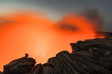 Crater of active volcano at twilight, Erta Ale, Danakil Depression, Ethiopia