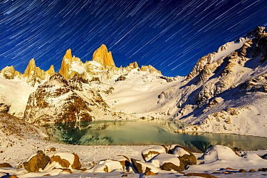 Glacial lake and Mount Fitz Roy at night, Patagonia, Argentina