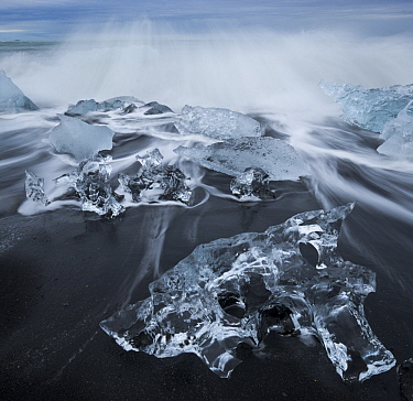 Ice chunks on black sand beach, Jokalsarlon Lagoon, Iceland