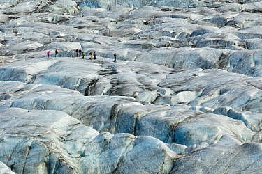 Ice climbers atop Skaftafellsjokull Glacier, Skaftafell National Park, Iceland