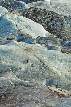 Ice climber scaling Skaftafellsjokull Glacier, Skaftafell National Park, Iceland